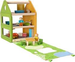Къща за кукли с мебели - Детска дървена играчка -