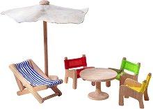 Градински мебели - Дървено обзавеждане за къща за кукли - образователен комплект