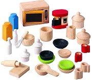 Кухненски аксесоари и прибори - Дървени играчки за къща за кукли - играчка