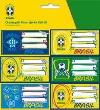 Етикети за тетрадки - Бразилски национален отбор по футбол - Комплект от 18 броя -