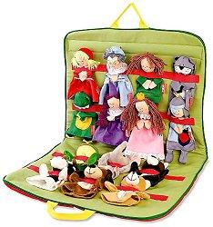 Приказен свят - Комплект 14 кукли за куклен театър в чанта - играчка