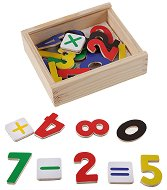 Магнитни цифри в дървена кутия - Образователна играчка -