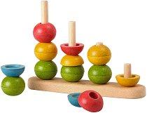 Подреди и преброй кръгчетата - Дървена играчка за сортиртиране - играчка