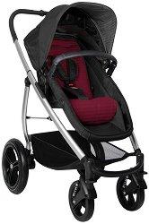 Комбинирана бебешка количка - Smart Lux Black Bordo - С 4 колела -