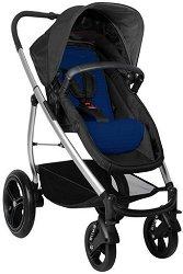 Комбинирана бебешка количка - Smart Lux Black Dark Blue - С 4 колела -
