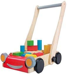 Количка с дървени кубчета за игра - Дървена играчка за бутане - играчка