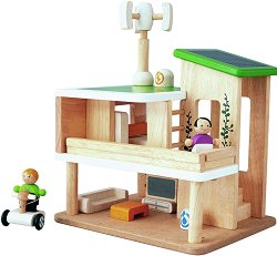 Екологична къща за кукли - Детска дървена играчка -