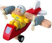 Витлов самолет с пилот - Дървена играчка - играчка