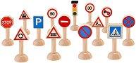 Пътни знаци и светофар - Комплект аксесоари за игра с дървени превозни средства - играчка