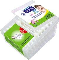 Бебешки клечки за уши с ограничител - Опаковка от 50 броя - крем