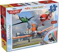 Самолети - Двулицев пъзел с 8 цветни флумастера -