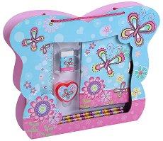 Таен дневник - Пеперуди - Комплект с ученически пособия в чантичка - играчка