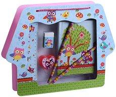 Таен дневник - Бухалчета - Комплект с ученически пособия в чантичка - играчка