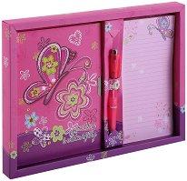 Таен дневник - Пеперуди - Комплект с бележник и химикал в кутия - творчески комплект