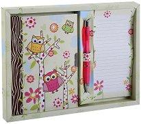 Таен дневник - Бухалчета - Комплект с бележник и химикал - играчка