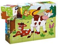 Дървени кубчета - Животните и сезоните - играчка