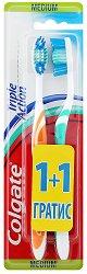 Colgate Triple Action - Medium - Четка за зъби 1 + 1 подарък -