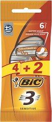 BIC 3 Sensitive - Самобръсначка с 3 остриета - опаковка от 4 + 2 броя подарък -