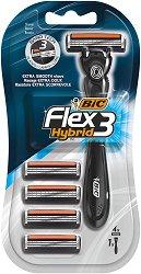 BIC Flex 3 Hybrid - Мъжка самобръсначка с 4 броя резервни ножчета -