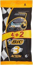 BIC 3 Action - Самобръсначка с 3 остриета - опаковка от 4 + 2 броя подарък - гел