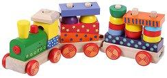 Дървено влакче - Със звукови и светлинни ефекти - играчка