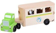 Камион с ремарке за коне - Дървена играчка - играчка