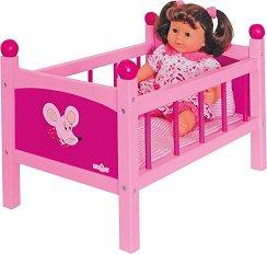 Легло със спален комплект - Дървена играчка за кукли - играчка