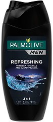 Palmolive Men Refreshing 2 in 1 Body & Hair - Душ гел и шампоан за мъже с морски минерали и евкалипт - душ гел
