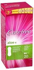 Carefree Aloe - Ежедневни дамски превръзки с алое вера в опаковки от 20 ÷ 56 броя - мокри кърпички