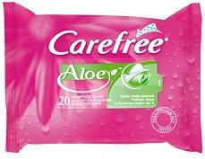 Carefree Aloe Intimate Wipes - Интимни кърпички с алое вера в опаковка от 20 броя - дамски превръзки