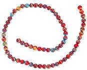 Мъниста за декориране - червено с оранжево и синьо - Диаметър 6 mm