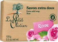 Le Petit Olivier Extra Mild Soap Rose - Нежен омекотяващ сапун с аромат на роза - четка