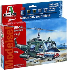 Военен хеликоптер - UH-1C - Сглобяем модел - комплект с лепило и бои - макет