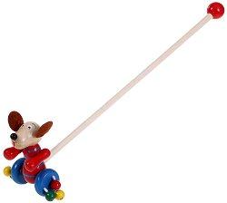 Кученце - Дървена играчка за бутане -