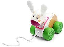 Зайче - Дървена играчка за дърпане - играчка