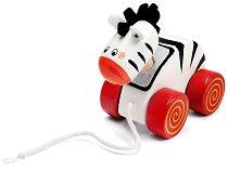 Зебра - Дървена играчка за дърпане -