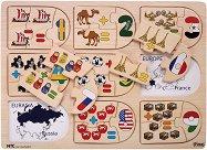 Уча се да смятам и изваждам - Държавите - Детски образователен пъзел от дърво -