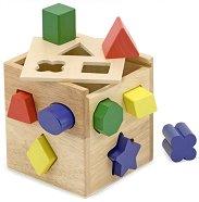 Кутия с формички за сортиране - Дървена образователна играчка - хартиен модел