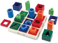 Поставка с формички за сортиране - Дървена образователна играчка -