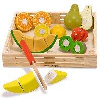 Касетка с плодове - Детски дървен комплект с ножче за рязане -