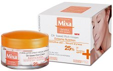 Mixa Extreme Nutrition Oil-based Rich Cream - Интензивно подхранващ крем за лице за чувствителна, суха и много суха кожа - гел