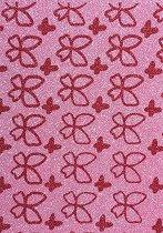 Лист EVA пяна с брокат - Червени пеперуди - Размери 20 x 29.7 cm