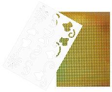 Двуцветен лист EVA пяна - жълт и жълт металик Шаблон с орнаменти