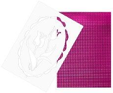 Двуцветен лист EVA пяна - розов и лилав металик Шаблон с лале