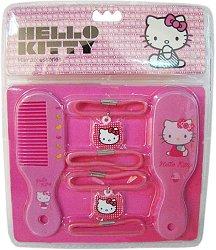 Детски аксесоари - Hello Kitty - Комплект от огледало, гребен и ластици за коса -