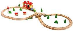 Дървено влакче с релси и ЖП гара - играчка