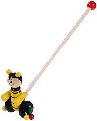 Пчеличка - Дървена играчка за бутане - играчка