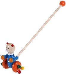 Мече - Дървена играчка за бутане - играчка