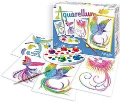 Оцветявай с акварелни бои - Райски птици - Творчески комплект за рисуване - продукт