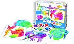 Оцветявай с акварелни бои - Риби - Творчески комплект за рисуване - играчка